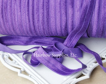 Purple Fold Over Elastic 1, 5 or 10 yards 5/8 inch FOE - Shiny for Headbands Hair Ties Hairbow Supplies, Etc.