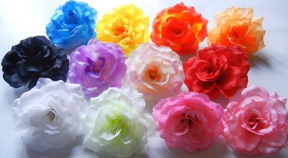 12 Rose Silk Flowers 3 inch - Wholesale Lot - YOU Pick Colors