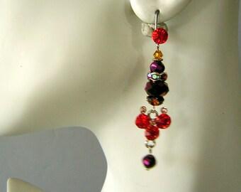 Purple Orange Festive Holiday or Prom CLEARANCE Handmade Rhinestone Earrings by FashionPuss