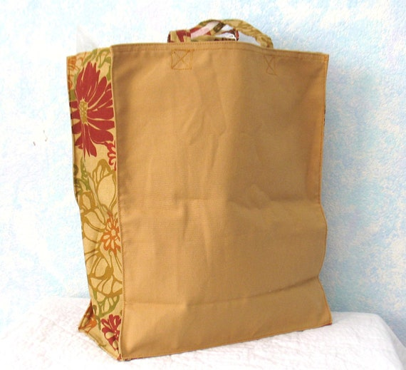 Shopping Bag, Canvas,  reusable, gold and floral