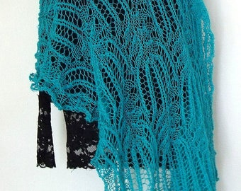 Turquoise green sea blue lacy large elegant  lady stole rectangular shawl scarf  hand knitted with border