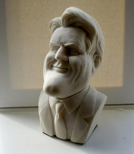 Jay Leno Caricature Bust in Alabaster Stone, Conversational Pop Art Sculptural Bust, Conversation Starter Pop Home Decor, One of a Kind