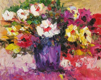 ORIGINAL Oil Painting on canvas impasto Flowers Palette Knife Colorful Bouquet modern painting big Yellow Purple Vase Pink ART by Marchella
