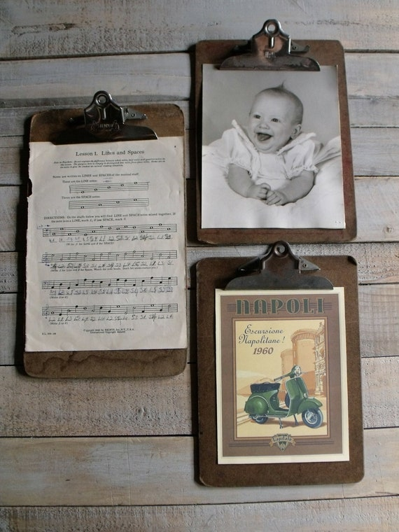 3 Vintage Clip Boards