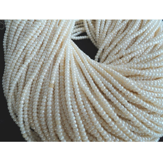 Natural Pearls - Wholesale Natural Fresh Water Pearls - Ivory Color - 5 Strands - 2 mm - 15 Inches Each
