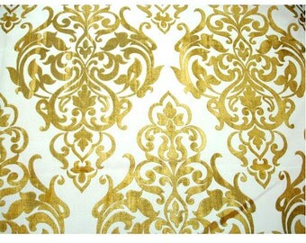 Ivory Jute Gold Printed Damask - Ivory Burlap Jute Fabric With Gold Printing