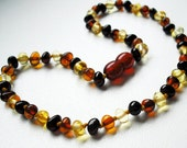 Baroque Multicolored   Baltic Amber Baby  Teething Necklace.