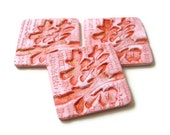 Chinese Double Happiness Clay Tags - Gift Topper -  Asian Ornament Set of 3