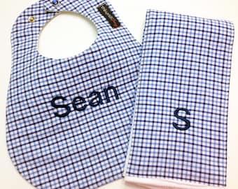 Monogrammed Bib and Burp Cloth set - Baby Blue Plaid - Etsykids Team - Etsy Baby - Baby Gift Set