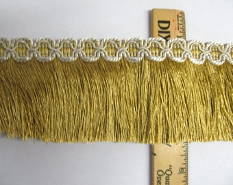 VINTAGE IMPORTED chainette fringe gold with gold header 3 inch
