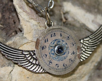Steampunk On The Wings of Time Necklace Pendant