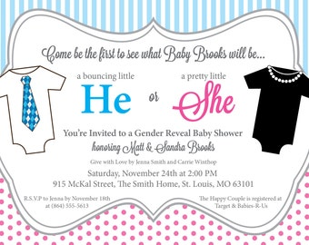 He or She Gender Reveal Baby Shower Invitation, Printable, Pink and Blue, One Pieces, DIY Digital File