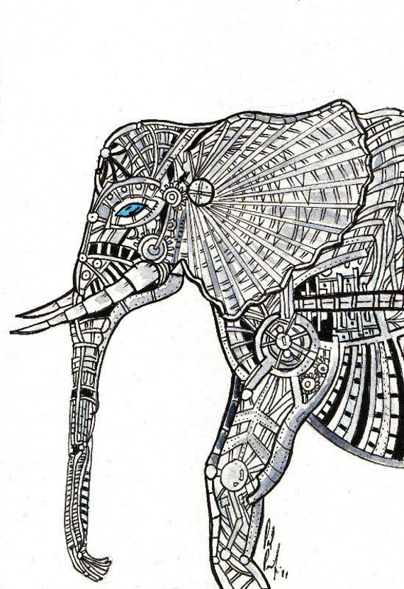 Mechanical Elephant Print (5x7) Pen & Ink Drawing by Vista Artworks