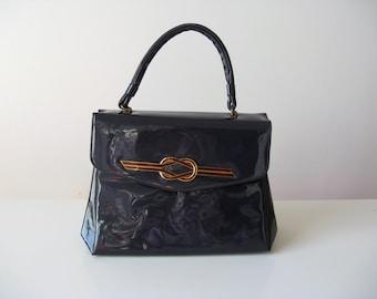 vintage 1960s purse / 60s bag / Royal Blue