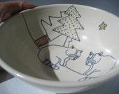 Handmade Ceramic Bowl - Raccoons Bowl