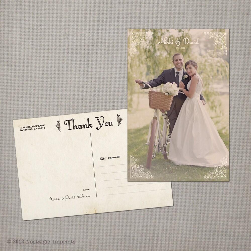 Wedding Thank You Postcards: Printed Wedding Thank You Cards 4x6 Wedding Thank You Cards