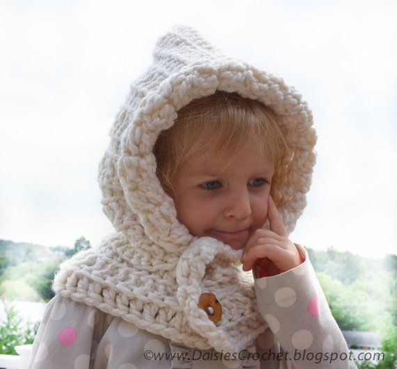 Free Crochet Childrens Hooded Cowl Pattern : Items similar to Crochet PATTERN Hooded wraper Toddler ...
