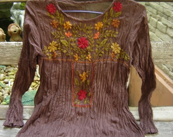 Long Sleeves Bohemian Embroidered Top - Choc Brown