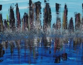 Art Sale Large Original Cityscape Abstract Art Painting by Jessicabstract
