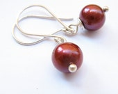 Simple Red Freshwater Pearls sterling silver dangler Cherry