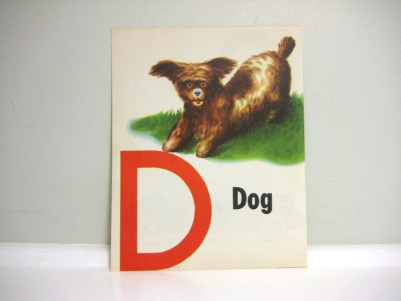Vintage Letter D Children's Book Illustration, Puppy Dog Art, Drawing, Monogram, Initial D, C Wall Decor, Lithograph, 1940s Litho
