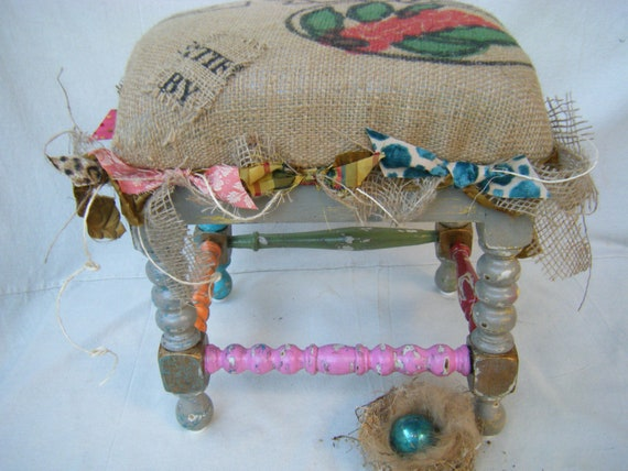 RESERVED FOR JOYCE-French Country Burlap Footstool