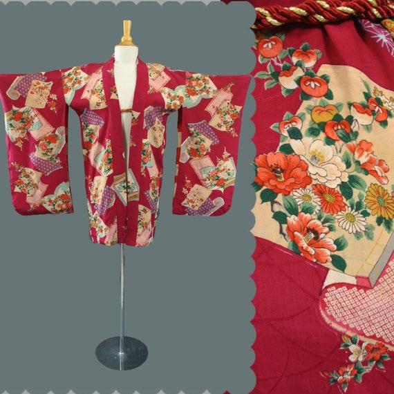Vintage Japanese SILK Furisode HAORI KIMONO Watercolor Dressing Jacket Short Robe S M L