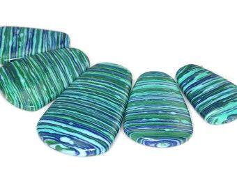 Fabulous 5 pieces Pine Green Stripe pendant bead Set J35B4104
