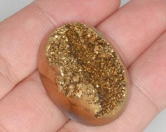 Gold Oval Druzy Agate Cabochon 34x26mm B37DR4230