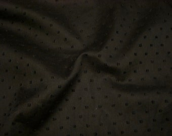 Black on Black Pure Cotton Dotted Swiss Fabric--One Yard