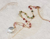 AAA Watermelon Tourmaline Large Coin Pearl Necklace, 14k Gold Filled, Wire Wrapped, Adjustable, June October Birthstone