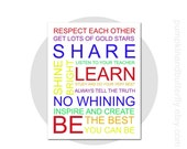 Back To School Print, Gift for Teachers, Teachers Gift, Multi Color, Primary Colors, Teacher's Rules, Classroom Rules, Back To School