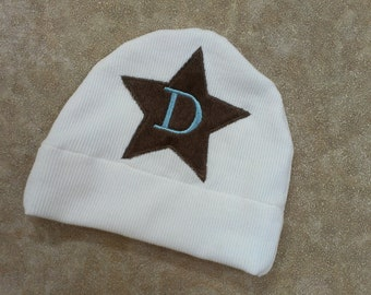 Ready for Immediate Shipping Blue and Brown Personalized Boy Jersey Knit Appliqued Star Hat