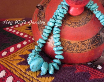 Chunky Turquoise and Sterling Silver Necklace
