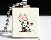 Snoopy and Charlie Brown Love Scrabble Pendant