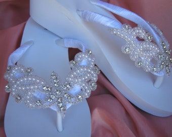 White Flip Flops or Ivory Flip Flops with Crystals Pearls and Beading
