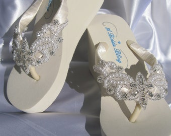 Ivory Flip Flops - White Flip Flops with Crystals Pearls and Beading Applique
