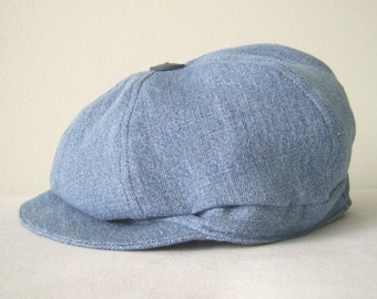 2 Way Baby Newsboy Hat, Blue Denim size 18 to 24 mo. Reclaimed Textiles,Toddler Newsboy Cap