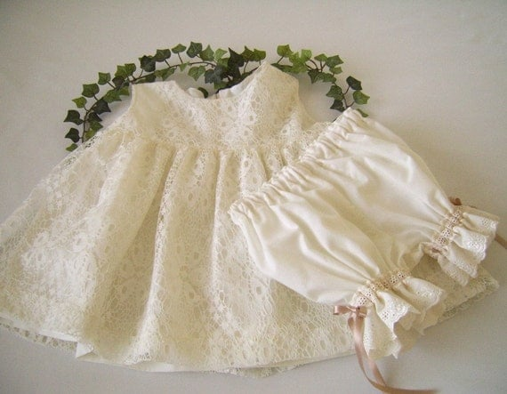 Ivory Lace Fairy Dress and Ruffle Bloomers size 12 to 18 mo. Heirloom Inspired, Reclaimed Textiles, Lace Easter Dress, Lace Baptism Dress