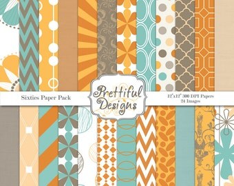 Sixties Vintage Digital Paper Pack  - Personal and Commercial Use