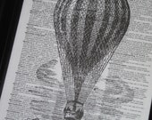 Dictionary Art Print Hot Air Balloon with Landscape Dictionary Art Print Upcycled Wall Art 8 x 10 Balloon 2