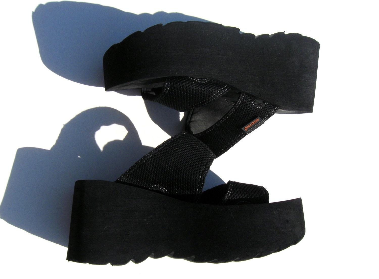 Vintage 90's 1990's Women Teen Black Platform Sandals by ...