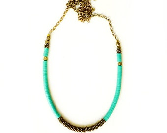 Green brass necklace