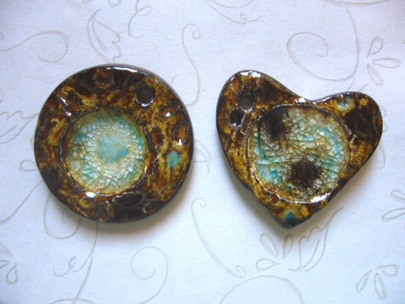Caramel Turquoise Ceramic Crater Pendants With Glass