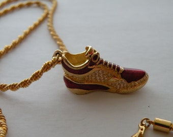 SWAROVSKI Enamel & Crystals tennis shoe pendant and gold plate chain.