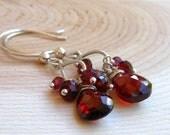 Briolette Garnet Earrings Cluster, Sterling Silver Deep Red Drops of Semi Precious Crimson Gemstones