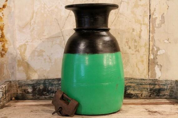 FREE SHIPPING Vintage Indian Green Water Pot Vase