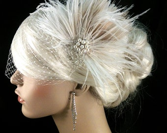 Wedding Hair  Fascinator, Wedding Headpiece, Wedding Hair Accessories, Gatsby Wedding, Great Gatsby Headpiece, Downton Abbey, Speakeasy