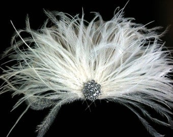 Bridal Feather Hair Clip, Bridal Fascinator, Bridal Headpiece, Bridal Hair Accessories, Bridal Veil