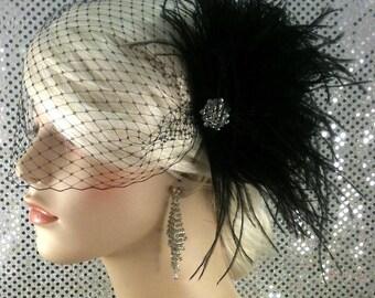Bridal Feather Fascinator, Bridal Fascinator, Bridal Headpiece, Bridal Hair Accessories, Bridal Veil, Black Feather Bridal Hair Clip